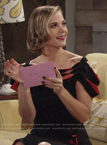 Phyllis's black and red strappy Valentines Day dress on The Young and the Restless