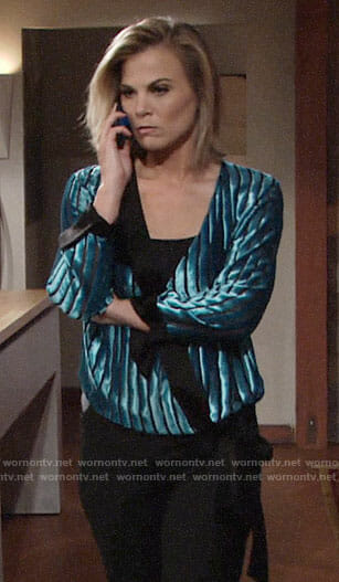 Phyllis's blue velvet wrap blouse on The Young and the Restless