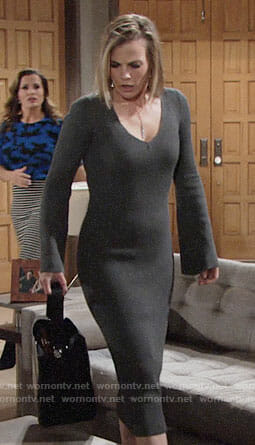Phyllis's grey long sleeved midi dress on The Young and the Restless