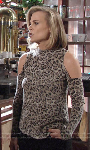 Phyllis's leopard print cold-shoulder sweater on The Young and the Restless