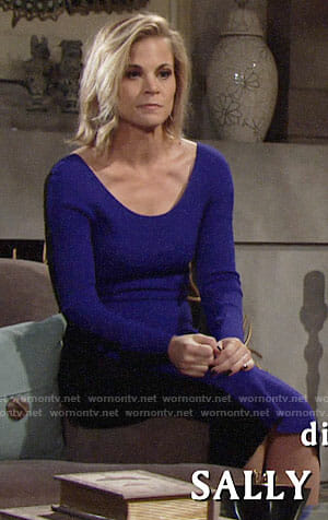 Phyllis's purple and black long sleeved midi dress on The Young and the Restless