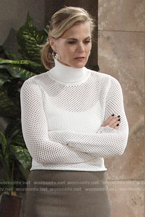 Phyllis's white mesh knit turtleneck on The Young and the Restless