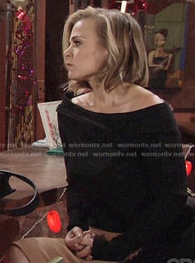 Phyllis's black off-shoulder top on The Young and the Restless
