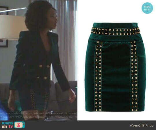 Embellished Velvet Mini Skirt by Pierre Balmain worn by Wakeema Hollis on Dynasty
