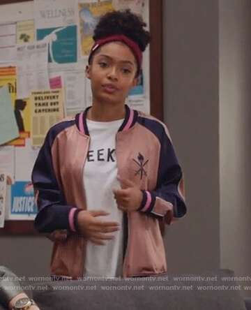 Zoey's pink embroidered bomber jacket on Grown-ish