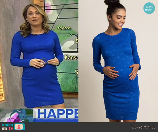 Lace Fitted Long Sleeve Maternity Dress by Pink Blush worn by Ginger Zee on Good Morning America