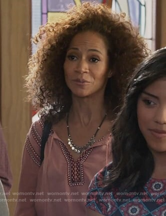 Lena's pink embroidered tassel top on The Fosters