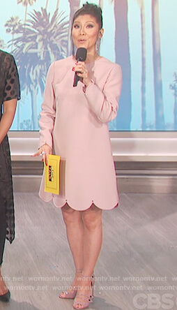Julie's pink scalloped dress on The Talk