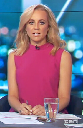 Carrie's pink sleeveless top on The Project