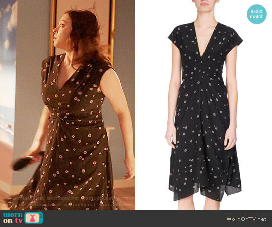 Proenza Schouler Rocket Sunflower Silk Cap-Sleeve Midi Dress worn by Rachel Bloom on Crazy Ex-Girlfriend