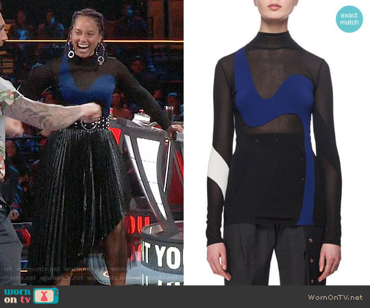 Proenza Schouler Sheer Wave-Knit Colorblock Top worn by Alicia Keys on The Voice