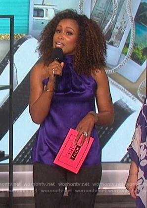Eve's purple halter neck top on The Talk