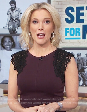 Megyn's purple lace cap sleeve dress on Megyn Kelly Today