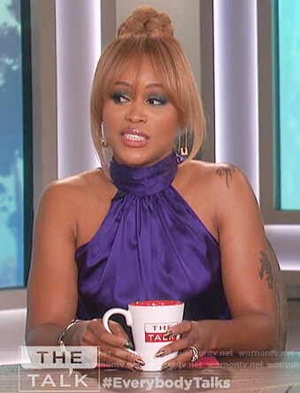 Eve's purple halter neck top on The Talk