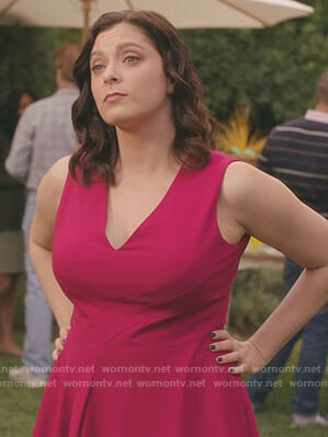 Rebecca's pink v-neck dress on Crazy Ex-Girlfriend