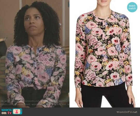 'Lavinia' Rose Top by Rebecca Taylor worn by Kelly McCreary on Greys Anatomy