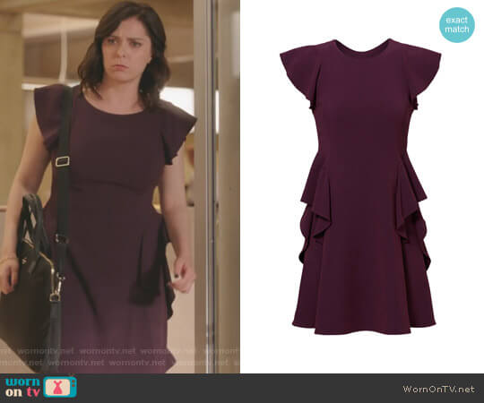 Ruffled Crepe Dress by Rebecca Taylor  worn by Rebecca Bunch (Rachel Bloom) on Crazy Ex-Girlfriend