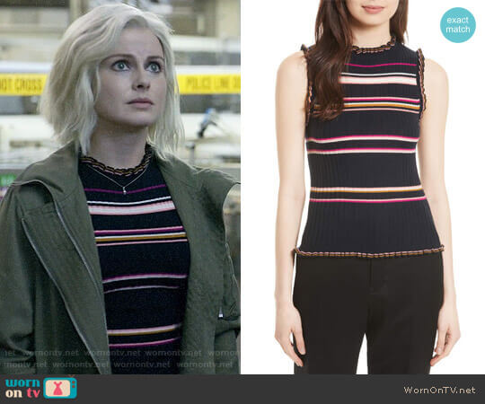Rebecca Taylor Stripe Rib Knit Tank worn by Liv Moore (Rose McIver) on iZombie
