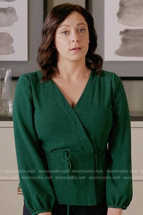 Rebecca's green wrap blouse on Crazy Ex-Girlfriend