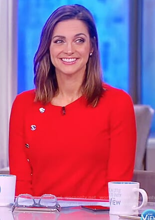 Paula's red button embellished sweater on The View