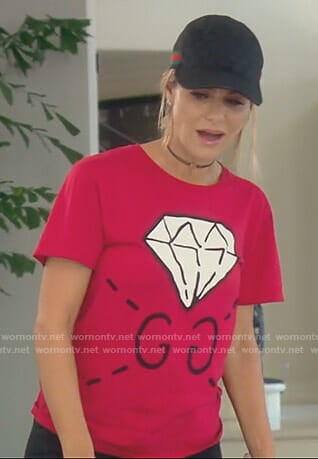 Dorit's red diamond print t-shirt on The Real Housewives of Beverly Hills
