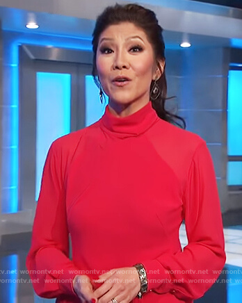 Julie's red mock neck dress on Celebrity Big Brother