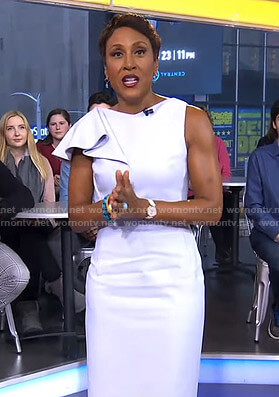 Robin's light blue ruffled shoulder dress on Good Morning America