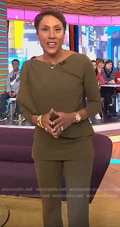 Robin's green draped top and pants on Good Morning America