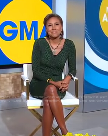 Robin's green leopard print wrap dress on Good Morning America