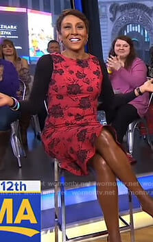 Robin's red floral dress on Good Morning America