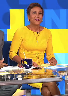 Robin's yellow ribbed corset dress on Good Morning America