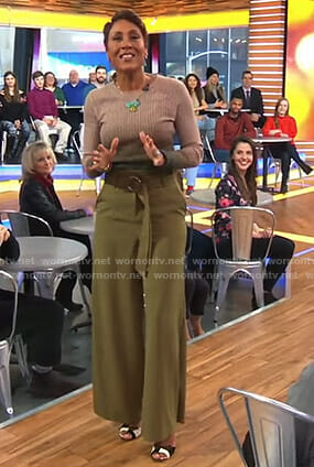 Robin's ombre sweater and belted wide-leg pants on Good Morning America