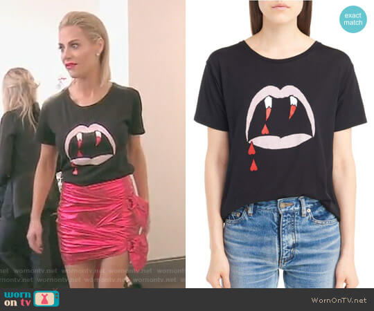 Blood Luster Graphic Cotton Tee by Saint Laurent worn by Dorit Kemsley  on The Real Housewives of Beverly Hills