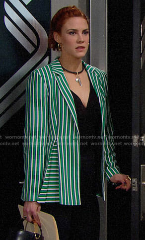 Sally's green striped blazer on The Bold and the Beautiful