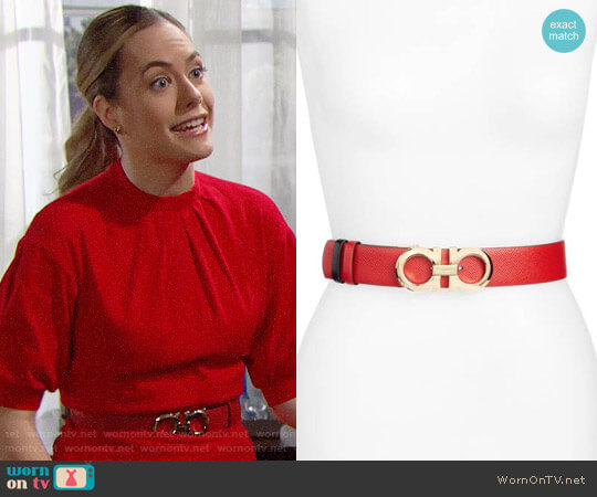 Salvatore Ferragamo Gancini Calfskin Leather Belt worn by Hope Logan (Annika Noelle) on The Bold & the Beautiful