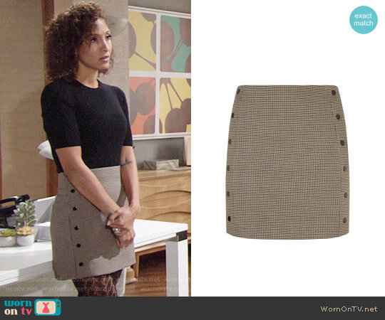 Sandro Double Breasted Checked Print Skirt worn by Lily Winters (Christel Khalil) on The Young & the Restless