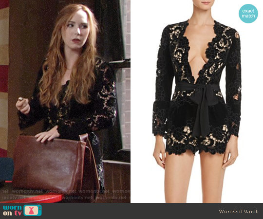 Saylor Velvet Embroidered Lace Romper worn by Camryn Grimes on The Young & the Restless