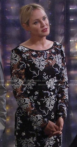 Sharon's black and white lace dress on The Young and the Restless