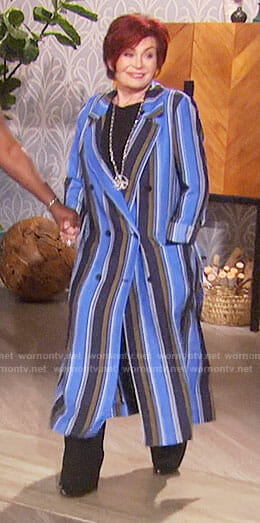 Sharon's blue striped long coat on The Talk