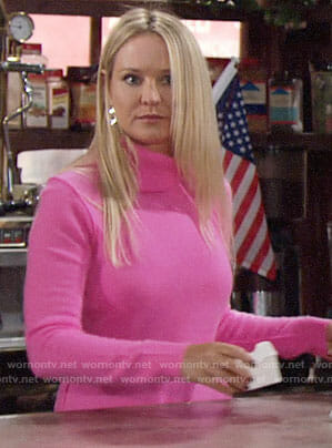 Sharon's pink turtleneck on The Young and the Restless