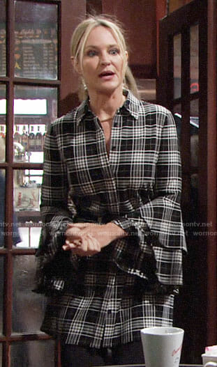 Sharon's plaid bell-sleeve shirtdress on The Young and the Restless