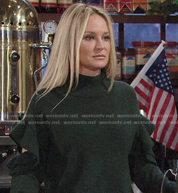 Sharon's green ruffled sweater with cutout arms on The Young and the Restless