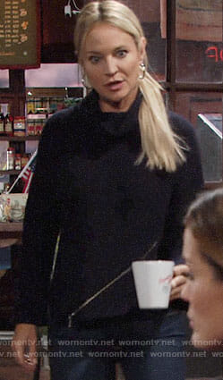 Sharon's navy zip front turtleneck sweater on The Young and the Restless