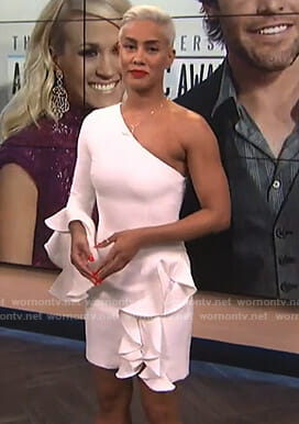 Sibley's white ruffled one-shoulder dress on E! News