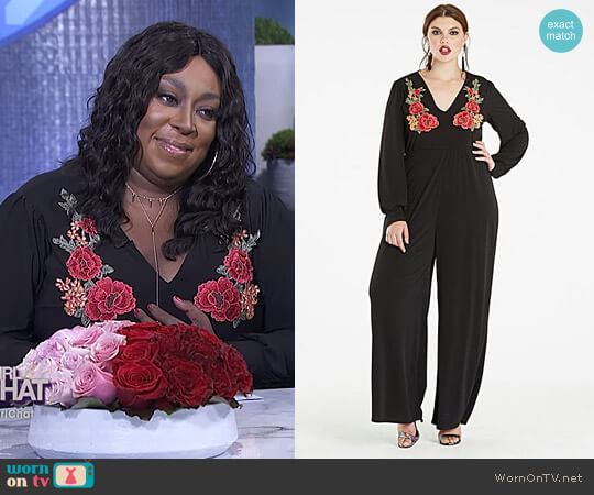 Embroidered Long Sleeve Jumpsuit by Simply Be worn by Loni Love on The Real