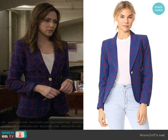 Smythe Duchess Blazer in Blue/Red Windowpane worn by Emily Rhodes (Italia Ricci) on Designated Survivor