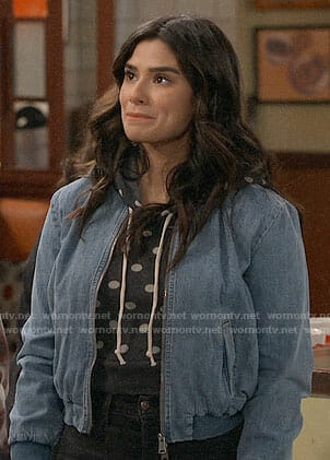 Sofia's polka dot hoodie on Superior Donuts