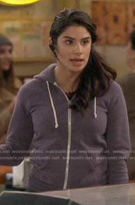 Sofia's purple hoodie on Superior Donuts