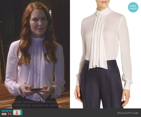 Satin Silk Georgette Neck Tie Blouse by St John Collection worn by Abby Whelan (Darby Stanchfield) on Scandal