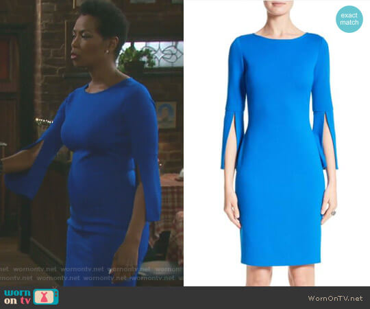 Split Sleeve Milano Knit Dress by St John  worn by Valerie Grant (Vanessa Williams) on Days of our Lives